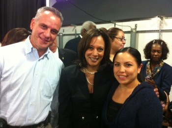 From l to r: Larry Rick, PA-C, Kaiser South Bay Staff Rep, Kamala Harris  Attorney General of California and  Angie Gonzalez, RN, South Bay Hospital President