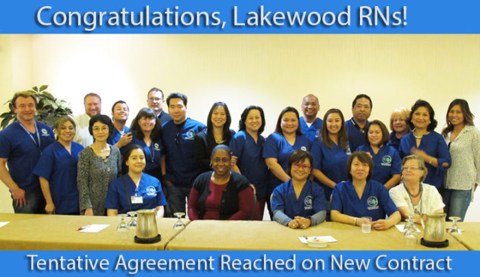 Lakewood RNs reached tentative agreement on a new contract